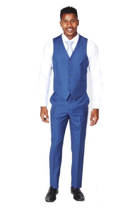Product#JA993 Mens Royal Blue Vest & Tie & Matching Dress Pants Set