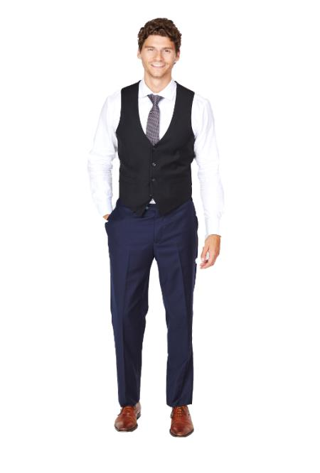 Men's Black Vest & Tie & Matching Dress Pants Set