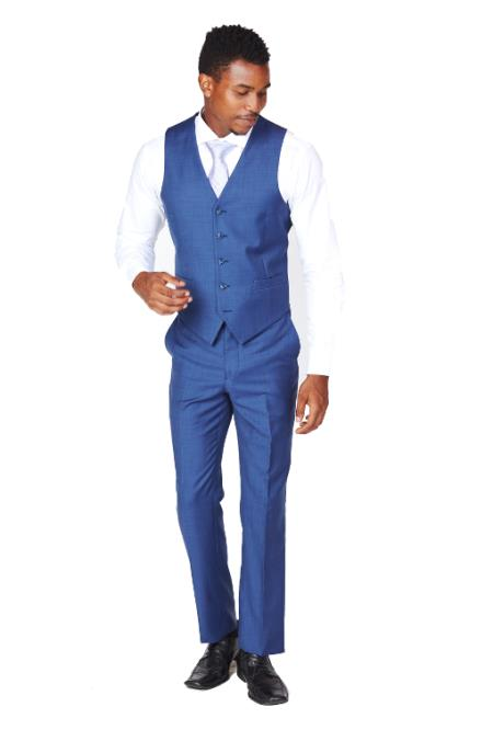 Men's Blue Vest & Tie & Matching Dress Pants Set