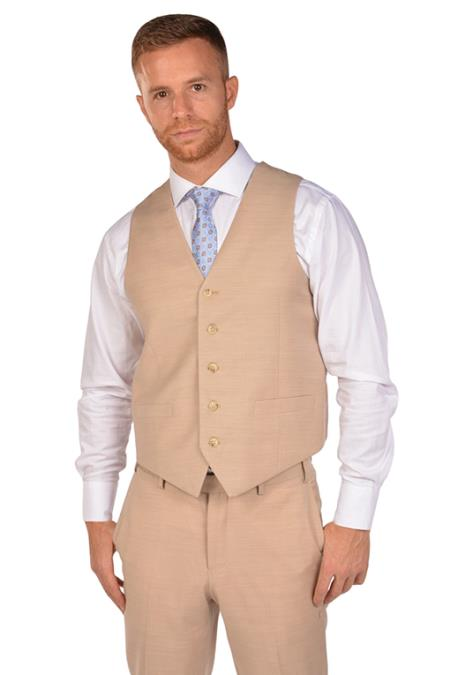 Product#JA1004 Mens Beige Vest & Tie & Matching Dress Pants Set