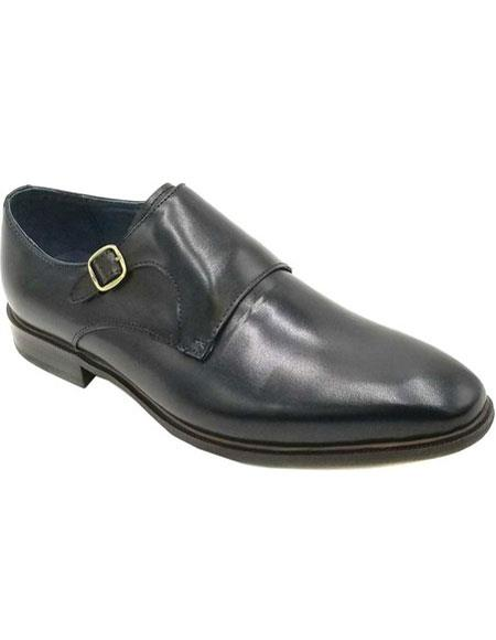SKU#VT283 Mens Slip On Zota - Buckle Premium Leather Black Shoe