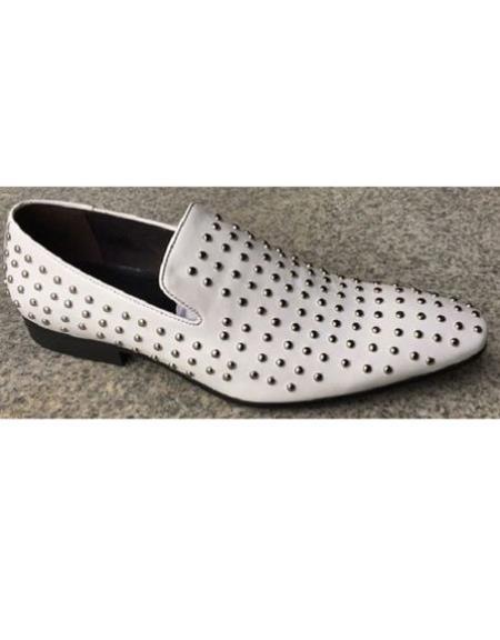 Silver Studs White Shoe
