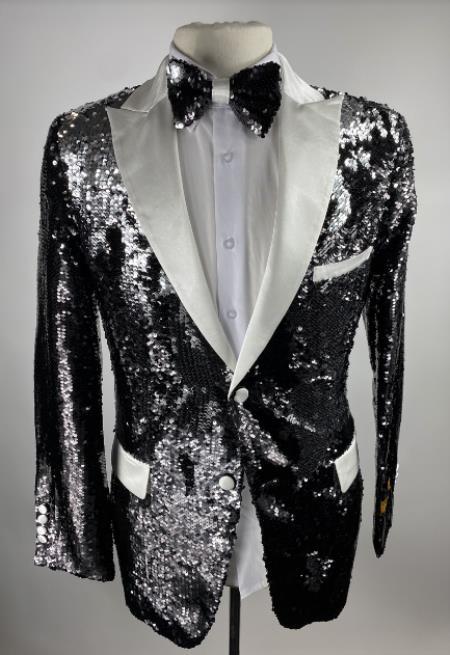 Men's Black One Button Single Breasted Sequin Blazer - Sequin Tuxedo - Dinner Jacket