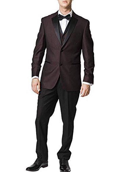 Burgundy Patterned Tuxedo Suit