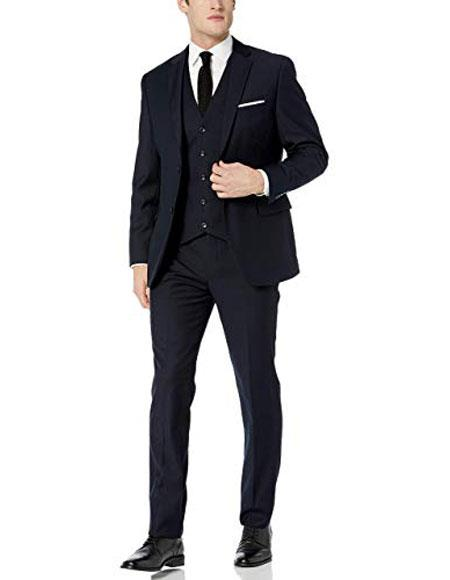 Mens Caravelli Navy  Notch Lapel Two Button Slim Fit Suit