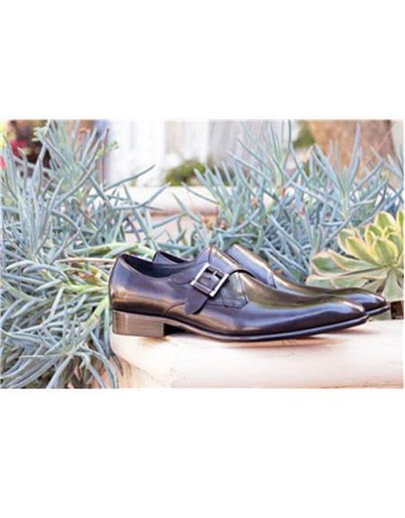 men's Slip On Buckle Closure Grey Carrucci Shoe