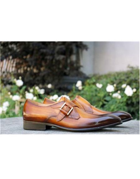 men's Buckle Closure Carrucci Shoe Cognac
