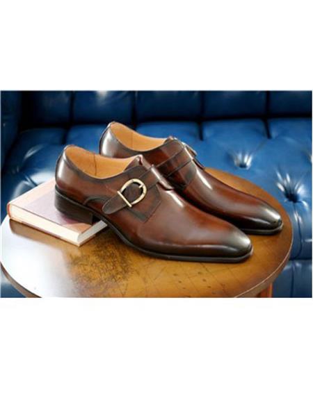 men's Buckle Closure Cognac Buckle Closure Carrucci shoe