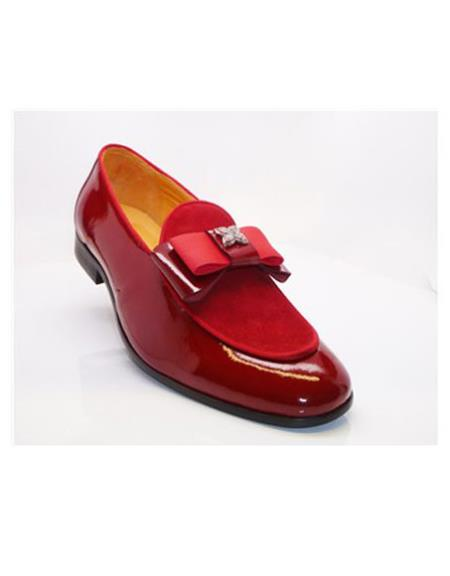 Product#EK816 Mens Red Slip On Buckle Closure Carrucci Shoe