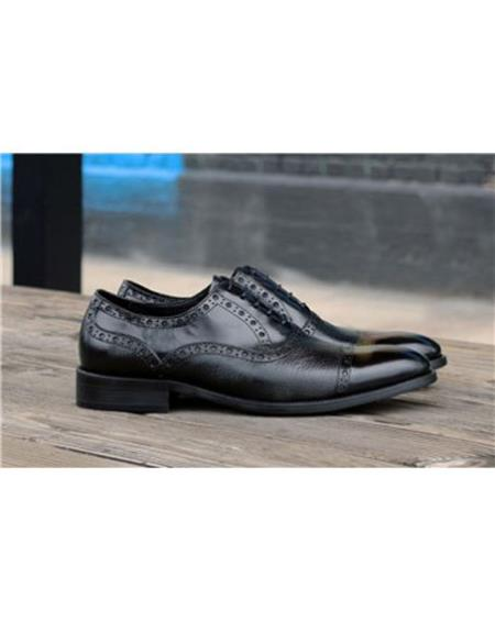 Mens Black Lace Up Carrucci Shoe