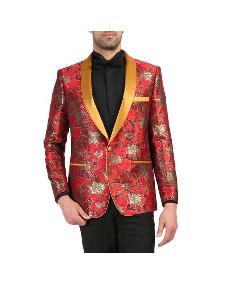 Men's Red and Gold Floral Shawl Collar Tuxedo Dinner Jacket Cheap Blazer ~ Suit Jacket For Men Perfect for Prom & Wedding Perfect For Prom Clothe - Prom Outfits For Guys