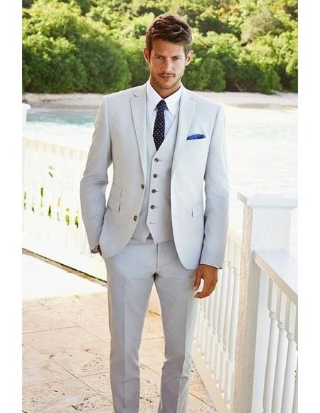 catch 60% clearance super specials Product#SK76 Mens Beach Wedding Attire Suit Menswear Light Gray $199