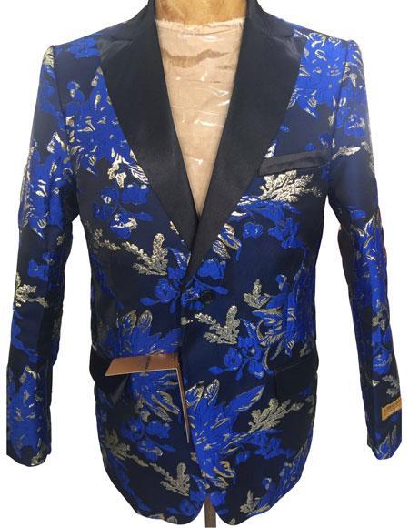 Blue Floral Pattern Blazer