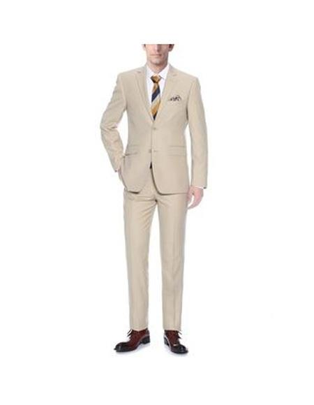 SKU#SK104 Mens Notch Lapel Single Breasted Tan Classic Fit Two-piece Suit