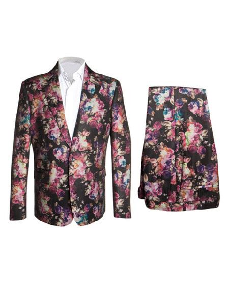 Mens Black ~  Pink  ~ Red ~ Lavender Floral Flower Fashion Suit