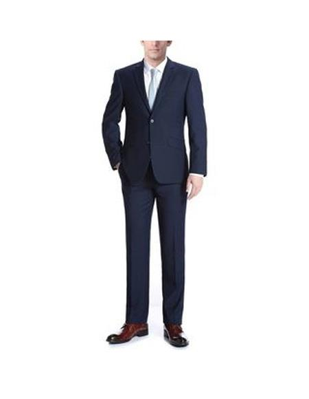 SKU#SK117 Verno Albani Mens Navy Notch Lapel Classic fit 2-Piece Suit