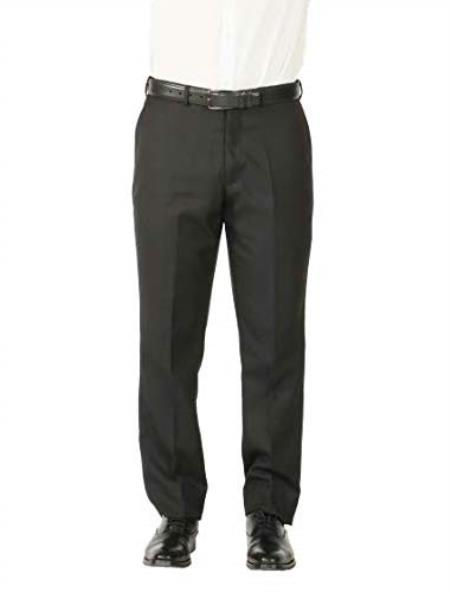Style# Mens Wool Blend Adjustable Wiast Stain Defender Modern Fit Dress Pants No Pleated