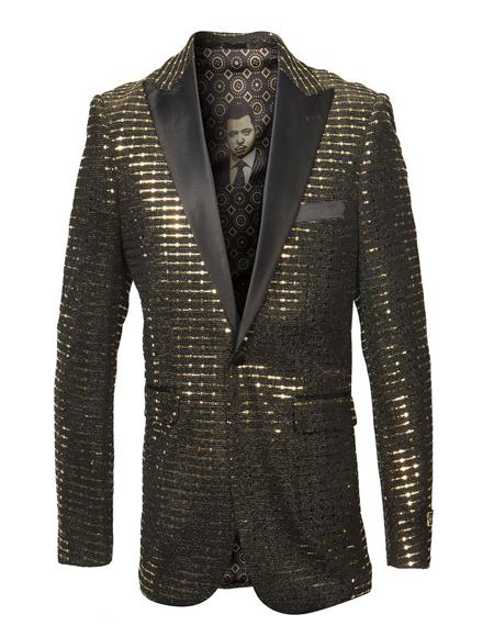 Product#JA1038 Mens Single Breasted Peak Lapel Fancy Pattern Gold Blazer ~ Suit Jacket