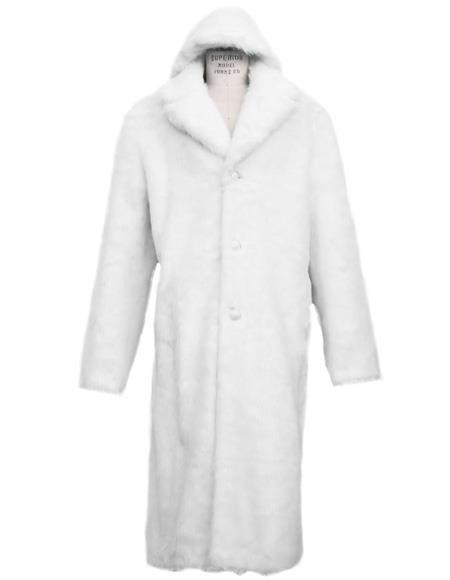 Product #Full length white notch lapel faux fur coat