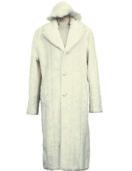 Product# Men's off white notch lapel full length faux coat