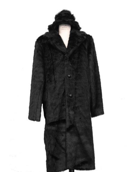 Product #Men's black full length notch lapel faux fur coat