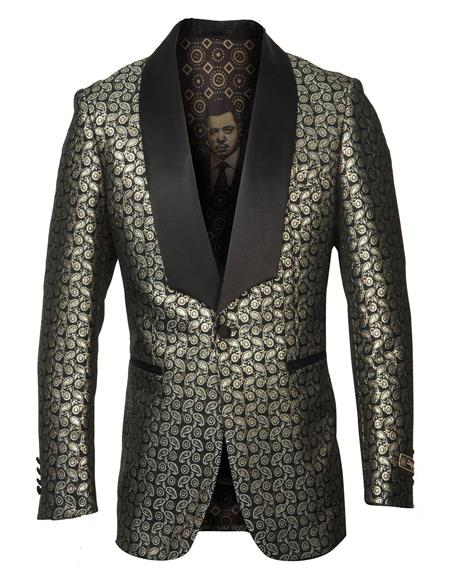 men's Single Breasted Shawl Lapel Fancy Pattern Gold Blazer ~ Suit Jacket