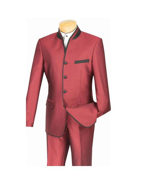 Mens Wine Four Button Single Breasted Banded Collar Slim Fit Suit