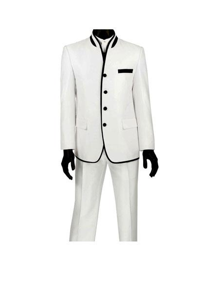 Mens Single Breasted Four Button Banded Collar Slim Fit White Suit
