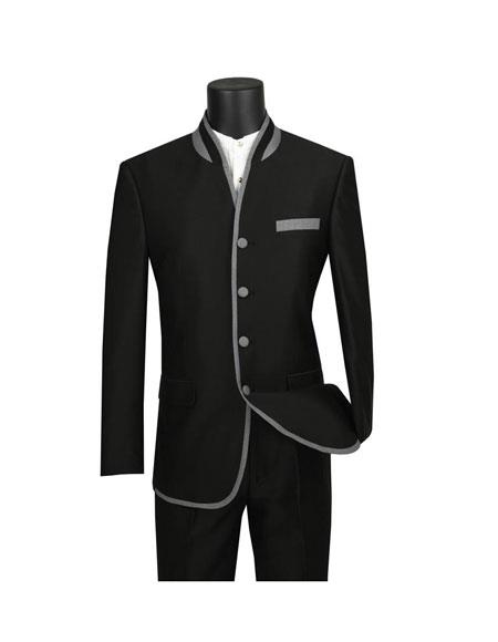Mens Black Slim Fit Four Button Banded Collar Single Breasted Suit