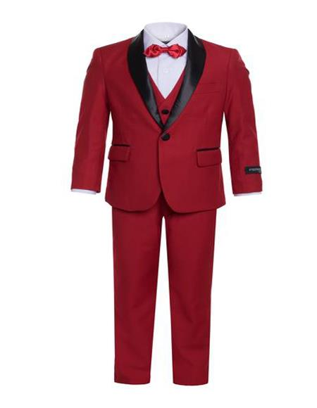 Product#JA1039 Mens Boys Shawl Lapel Single Breasted Red Tuxedo Set