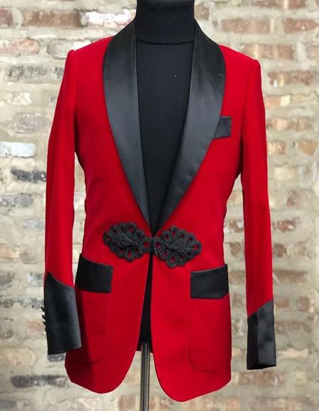 Product#JA1045 Mens Red Velvet Dinner Jacket, with Black Satin Shawl Lapel & Trim