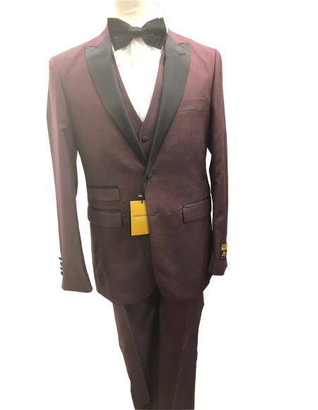 Mens Burgundy Single Breasted Two Button Suit