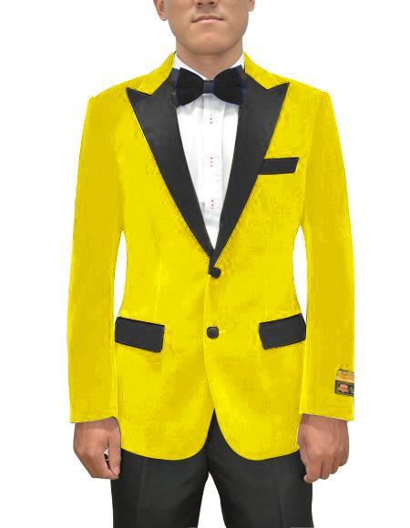 men's Yellow Peak Lapel One Ticket Pocket Blazer