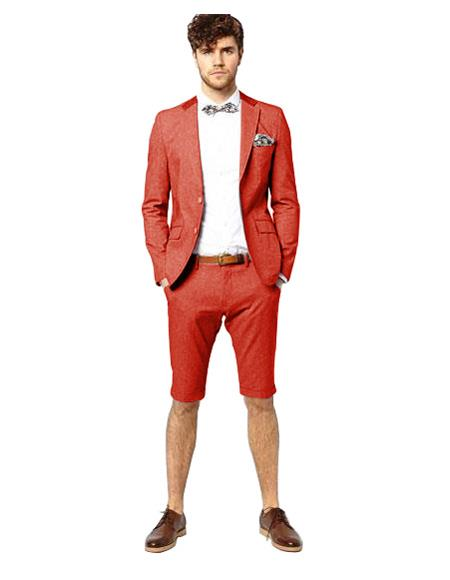 Mens Red Single Breasted Suit