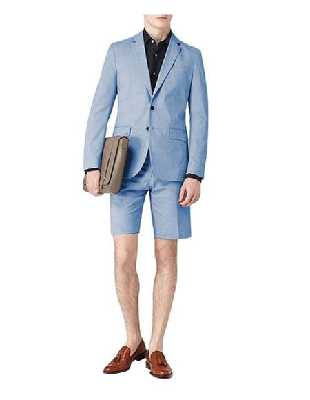 Blue Single Breasted Suit