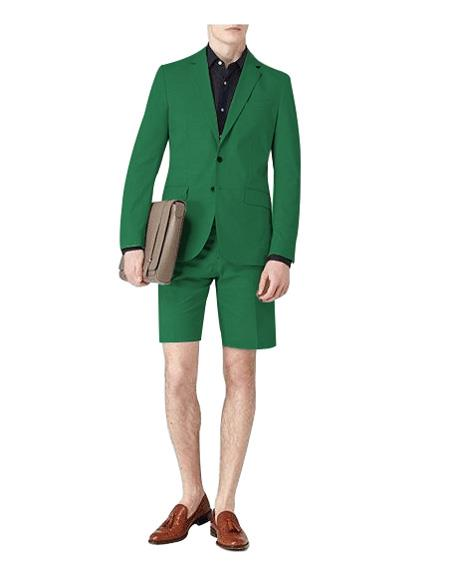 Mens Suit for Men Single Breasted Green Notch Lapel