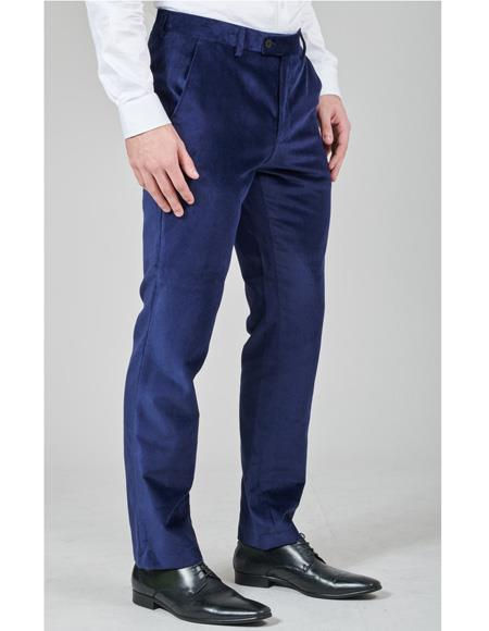 Mens Navy Blue Pant Flat Front Regular Fit