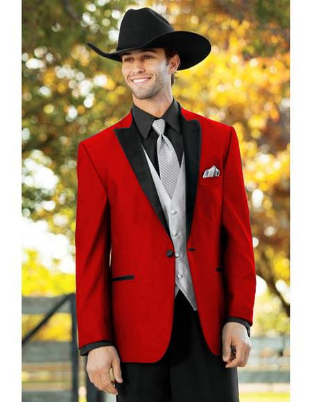 Mens Red Single Breasted One Button Suit