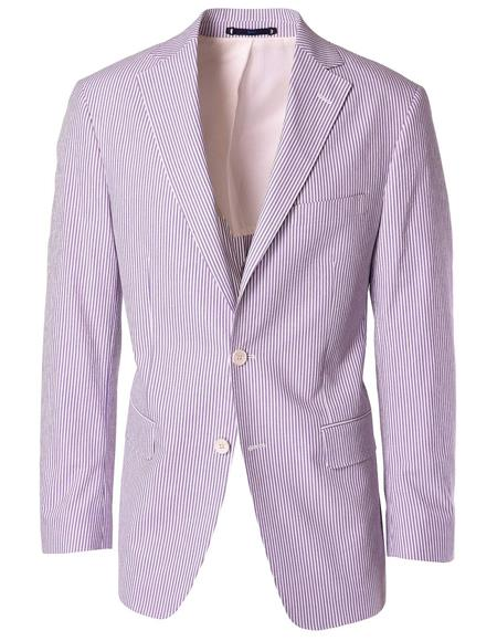 Men's Single Breasted Notch Label Lavender Blazer Sport Coat