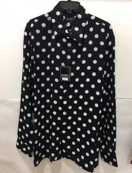 Product#JA1080 Mens Fashion Poker/ Polka Dot Long Sleeves Shirts