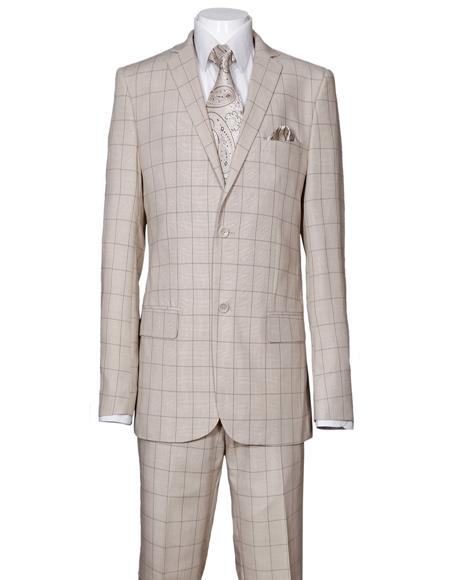 Product#JA1086 Mens Plaid Window Pane Pattern Suit Side Vent Regular Fit Tan
