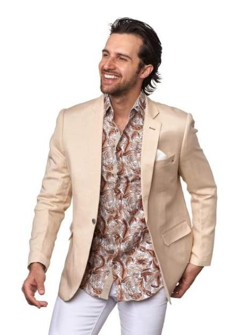 Product#JA1090 Mens Men's 2 Piece Linen Causal Outfits Blazer - Beige / Beach Wedding Attire For Groom