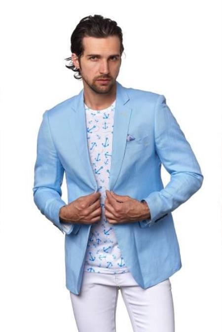 Men's 2 Piece Linen Causal Outfits Blazer - Sky / Beach Wedding Attire For Groom