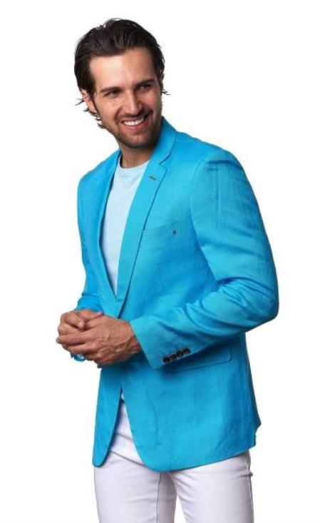 Product#JA1096 Mens Men's 2 Piece Linen Causal Outfits Blazer - Turquoise / Beach Wedding Attire For Groom