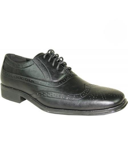 men's Black Lace Up Wingtip 1920s style fashion men's shoes