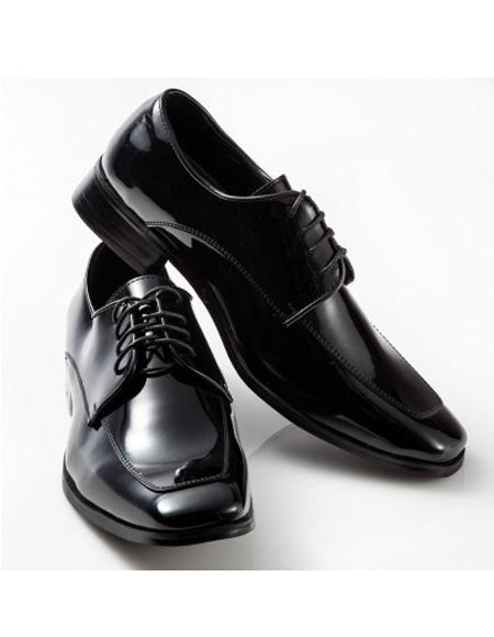 Mens Black Lace Up Moc Square Design Shoe