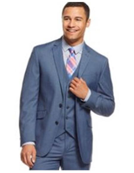 Breasted Blue Suit