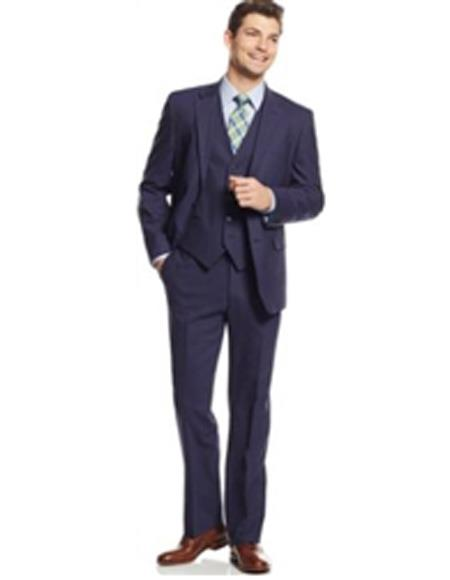 Mens Single Breadted Suit Notch Laple Navy