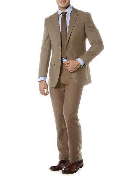 Men's Single Breasted Notch Label Slim Fit Suit Beige