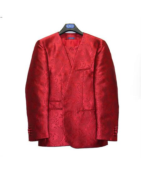 Mens No Collar Style Paisley Mettalic Shiny Flashy Suit Red